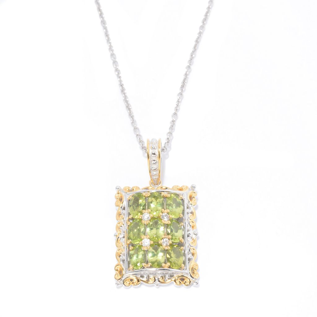 140-824 - Gems en Vogue 4.07ctw Oval Arizona Peridot & White Zircon Pendant w/ Chain