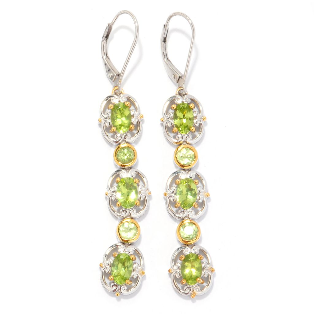 "140-825 - Gems en Vogue 2.25"" 3.08ctw Round & Oval Arizona Peridot Dangle Earrings"