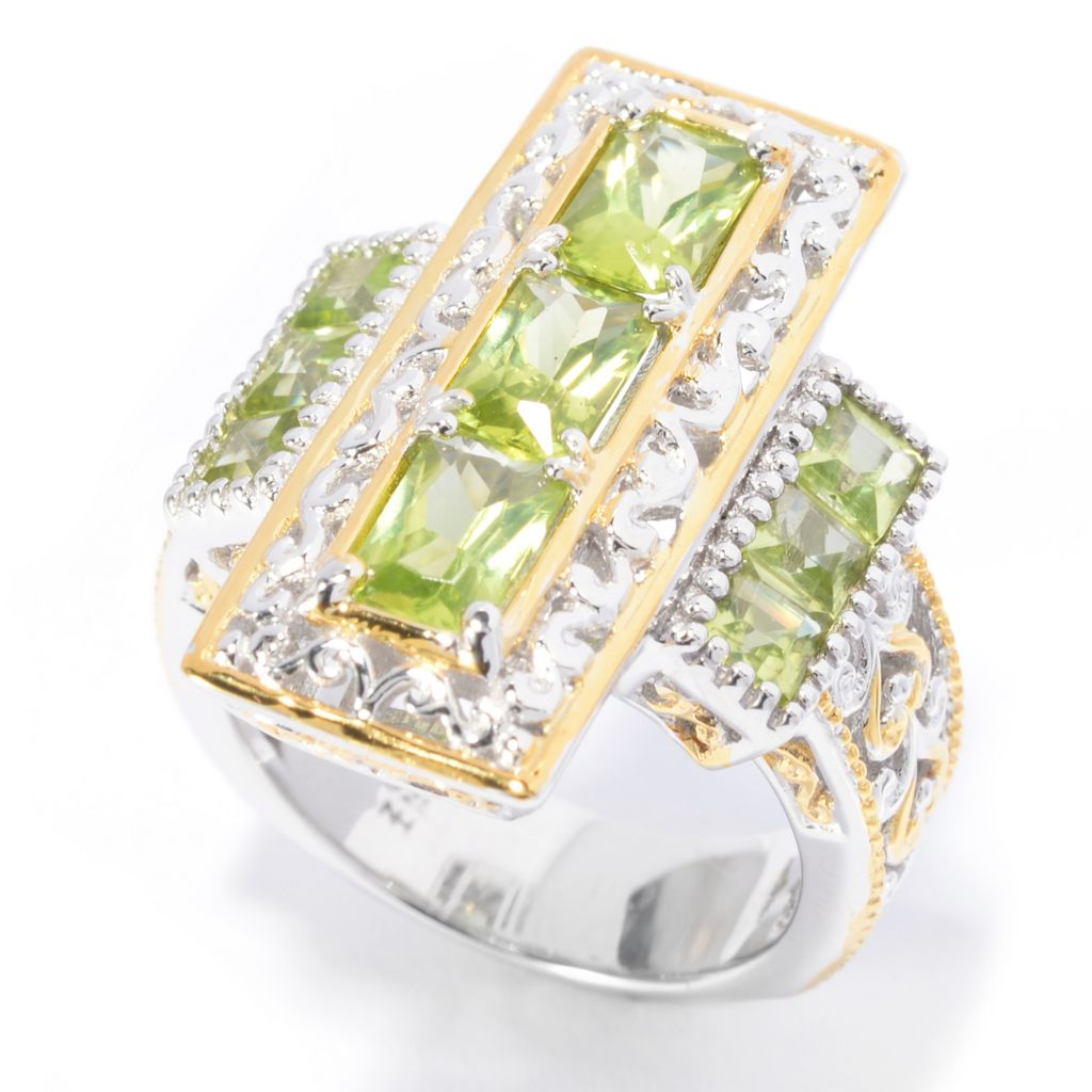 140-826 - Gems en Vogue 2.49ctw Multi Shaped Arizona Peridot Elongated Ring