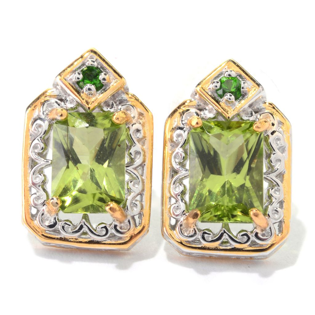 140-827 - Gems en Vogue 2.02ctw Arizona Peridot & Chrome Diopside Stud Earrings
