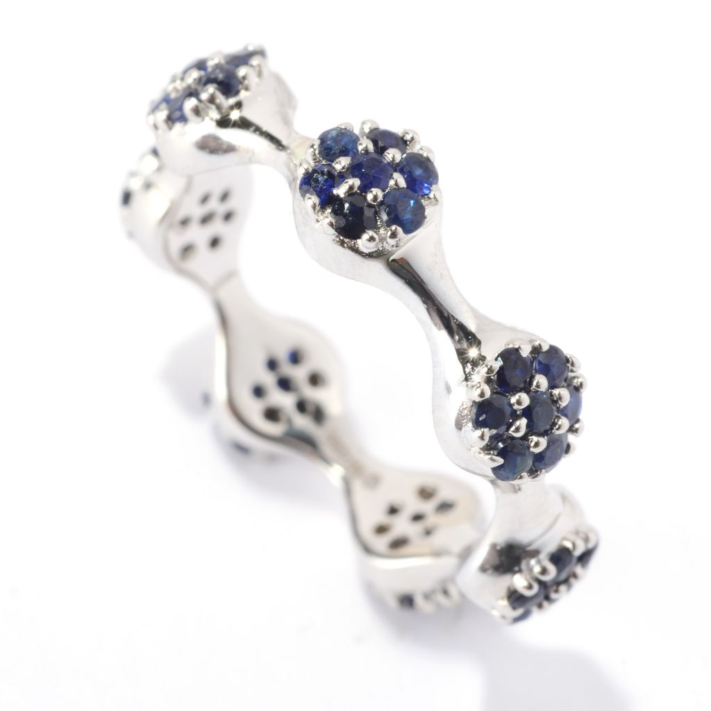 140-829 - Gem Treasures Sterling Silver Round Sapphire Stack Band Ring