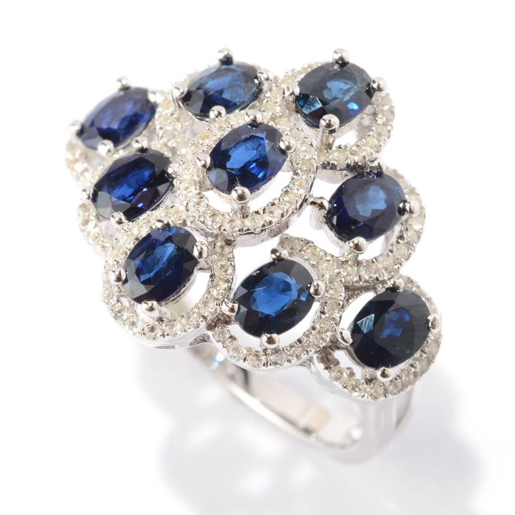 140-831 - Gem Treasures Sterling Silver 2.99ctw Oval Sapphire & White Topaz Ring