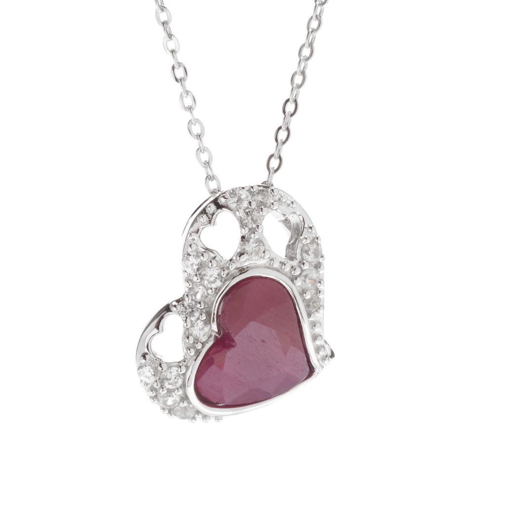 140-833 - Gem Treasures Sterling Silver Madurai Ruby & White Zircon Heart Pendant w/ Chain