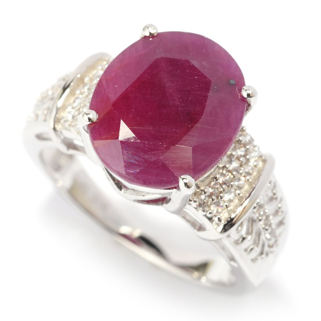 140-834 - Gem Treasures Sterling Silver 12 x 10mm Oval Madurai Ruby & White Zircon Ring