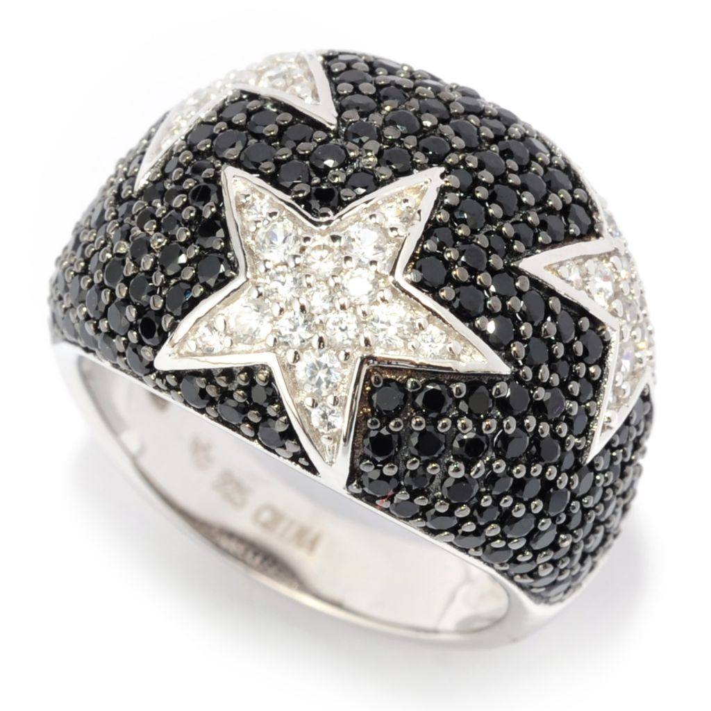 140-836 - Gem Treasures Sterling Silver 2.09ctw Black Spinel & White Zircon Dome Ring