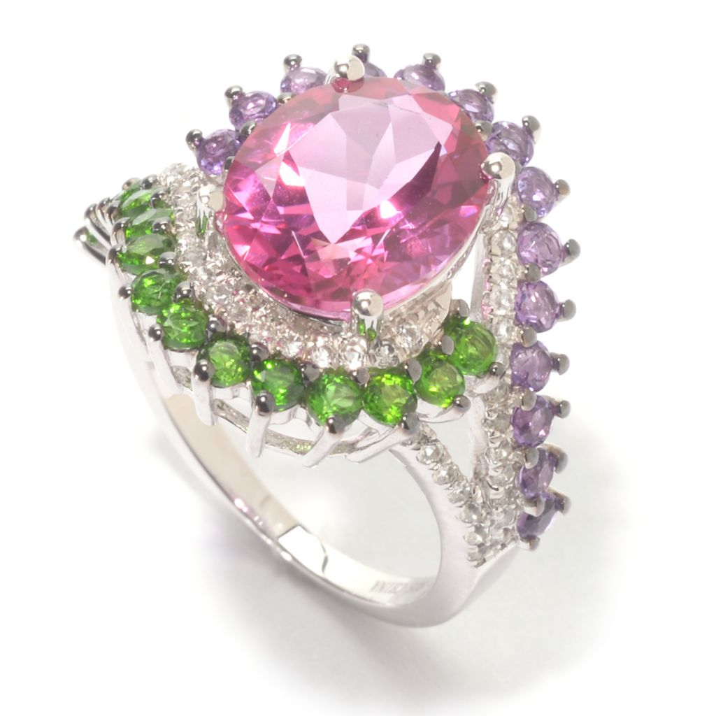 140-837 - Gem Treasures Sterling Silver 5.23ctw Bahaman Pink Topaz & Multi Gem Halo Ring