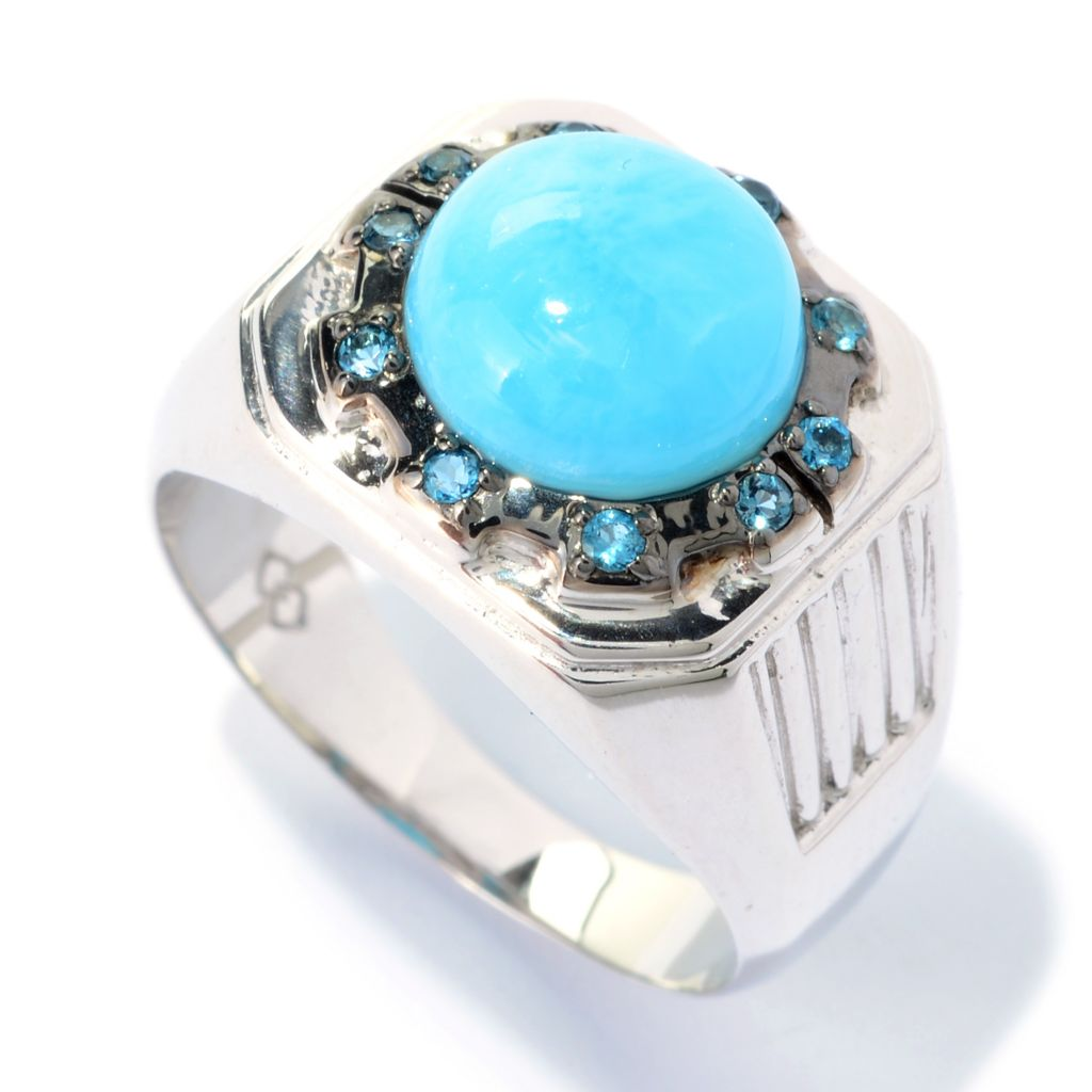 140-848 - Gem Insider Men's Sterling Silver 10mm Larimar & Blue Topaz Ring