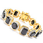 140-853 - NYC II 32.00ctw Black Spinel & White Zircon Multi Shape Link Bracelet