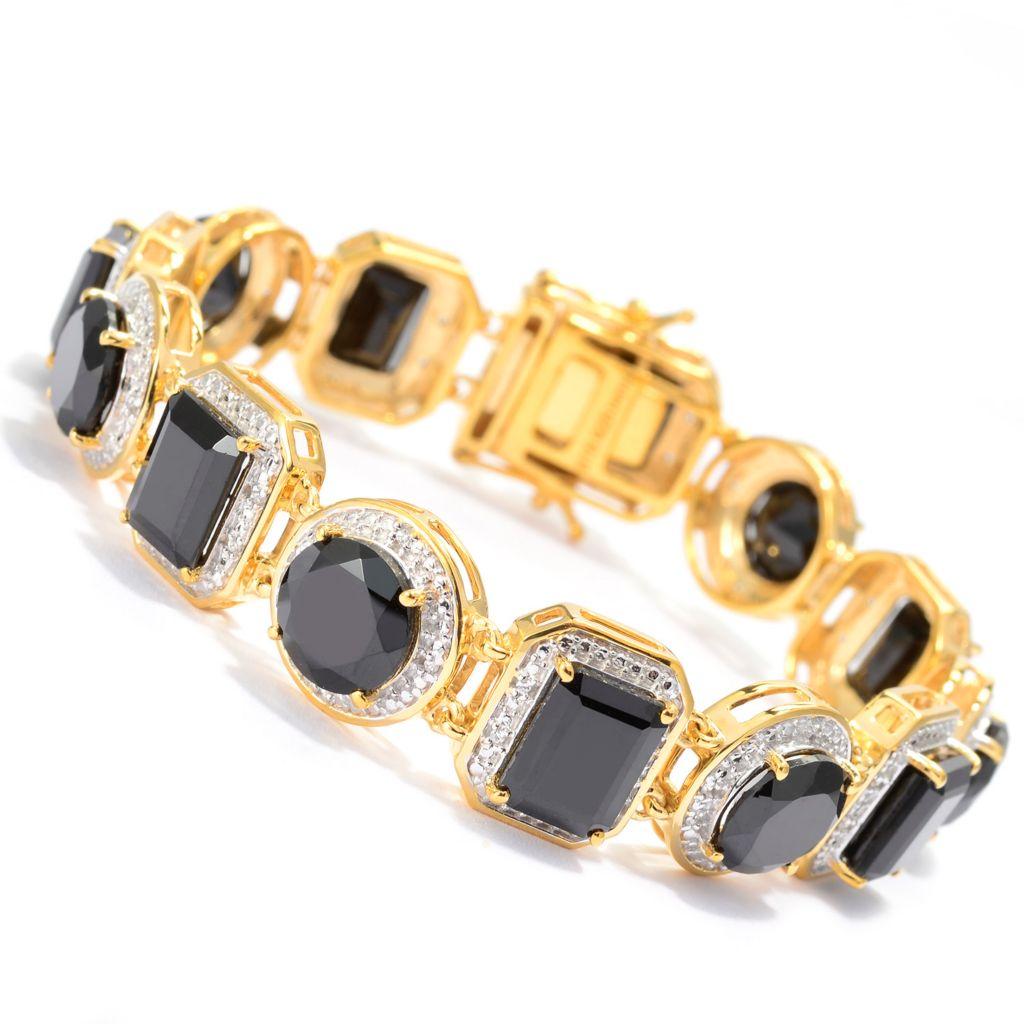 140-853 - NYC II 32.00ctw Black Spinel & White Zircon Multi Shape Link Bracelet
