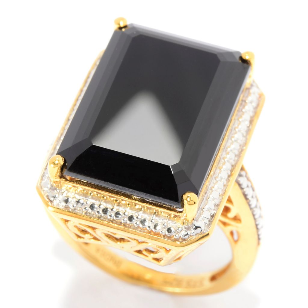 140-854 - NYC II 17.70ctw Emerald Cut Black Spinel Scrollwork Ring