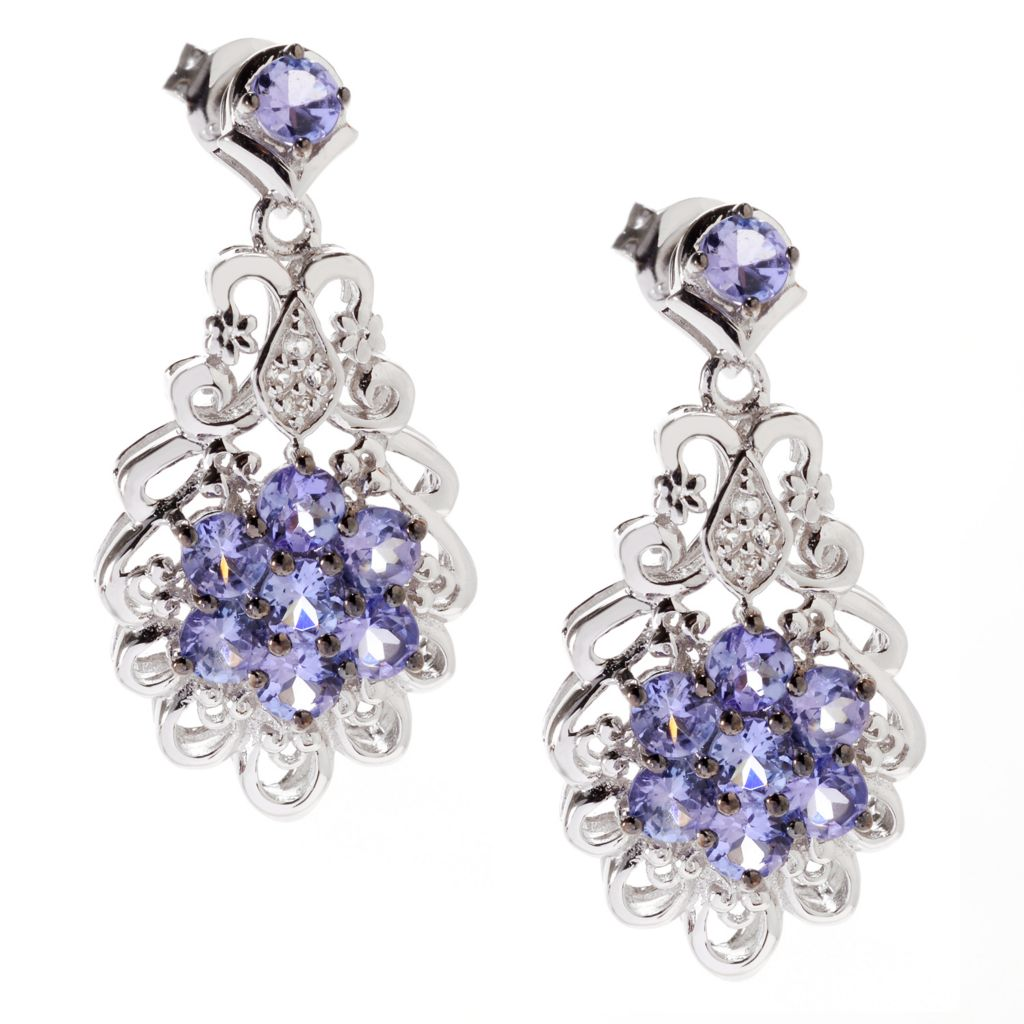 "140-856 - Gem Treasures Sterling Silver 1"" 1.43ctw Tanzanite & White Topaz Drop Earrings"