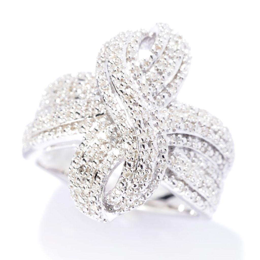 140-872 - Diamond Treasures Sterling Silver 0.25ctw Diamond Figure-Eight Swirl Ring