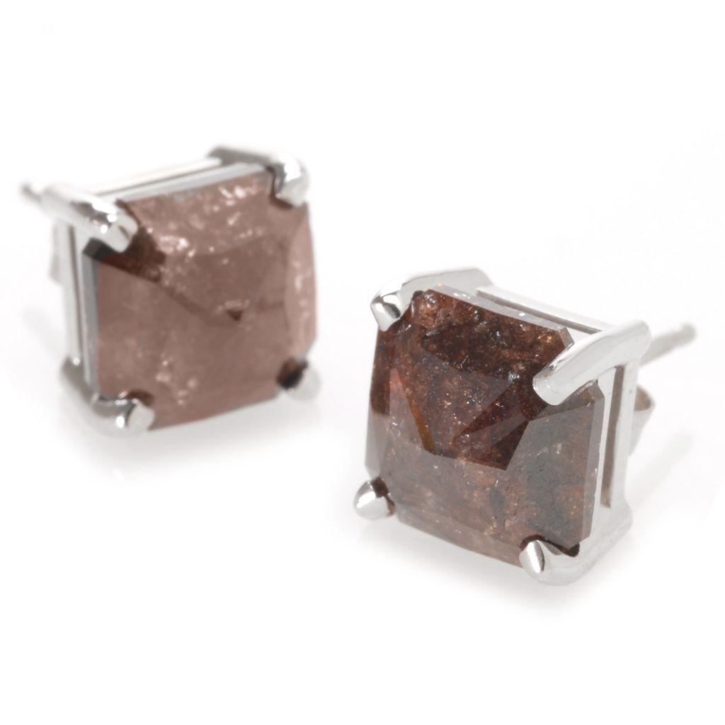 140-875 - Diamond Treasures 14K White Gold Cushion Shaped Rough Diamond Stud Earrings