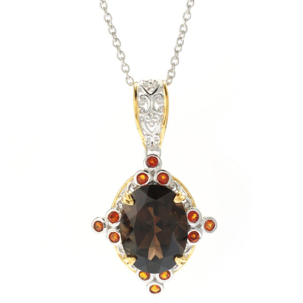 140-879 - Gems en Vogue 6.97ctw Arkansas Smoky Quartz & Madeira Citrine Pendant w/ Chain