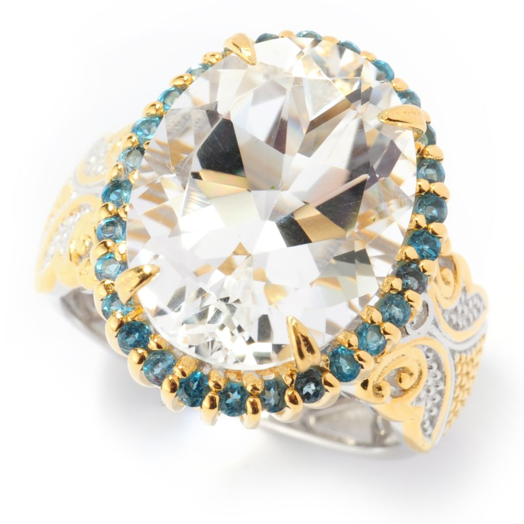 140-880 - Gems en Vogue 9.06ctw Arkansas White Quartz & London Blue Topaz Halo Ring