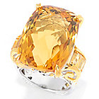 140-882 - Gems en Vogue 26.40ctw Cushion Checkerboard Cut Brazilian Canary Citrine Ring