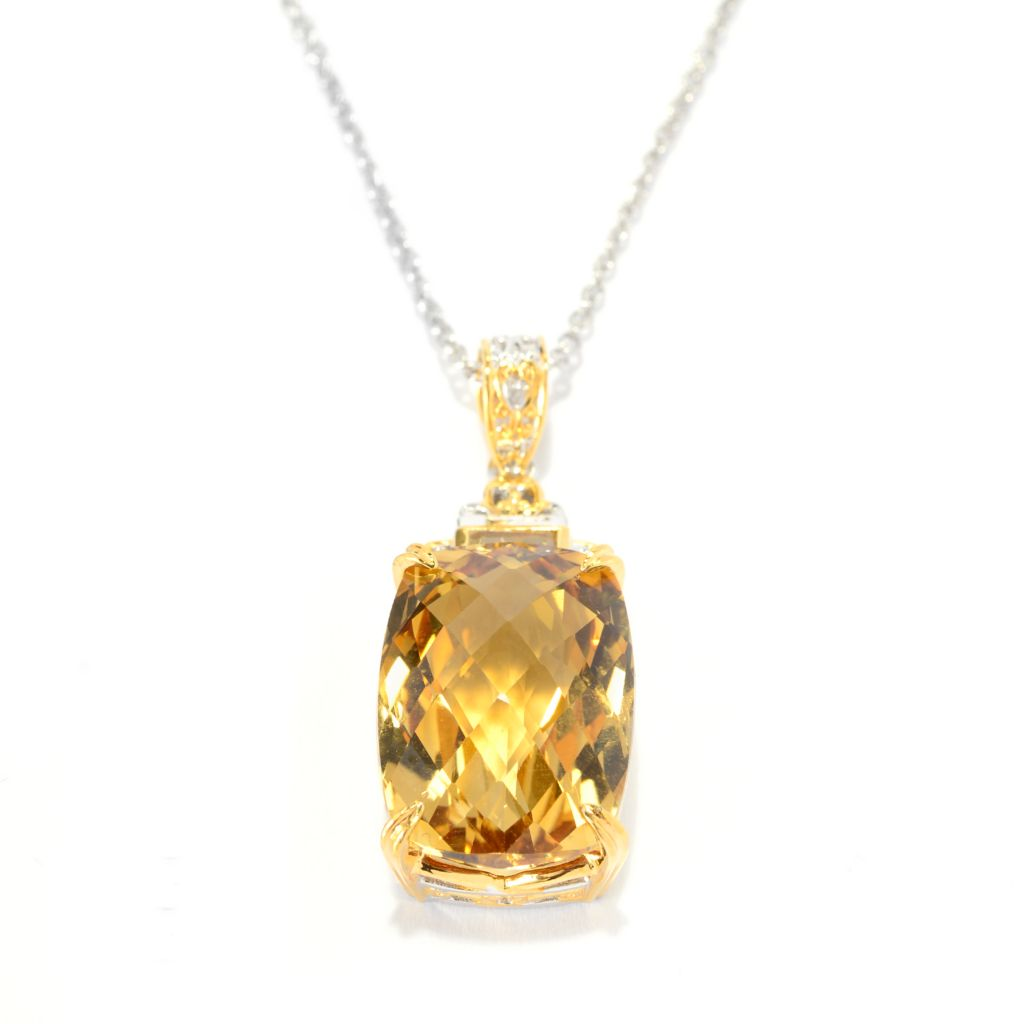 140-883 - Gems en Vogue 18.45ctw Checkerboard Cut Brazilian Canary Citrine Pendant