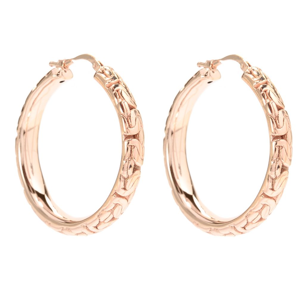 "140-890 - Toscana Italiana 18K Gold Embraced™ 1.37"" Byzantine Hoop Earrings"