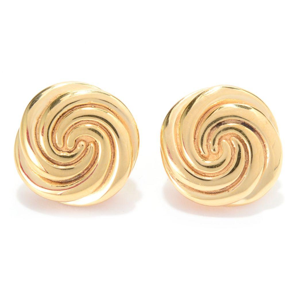 140-891 - Toscana Italiana 18K Gold Embraced™ Polished Swirl Button Earrings