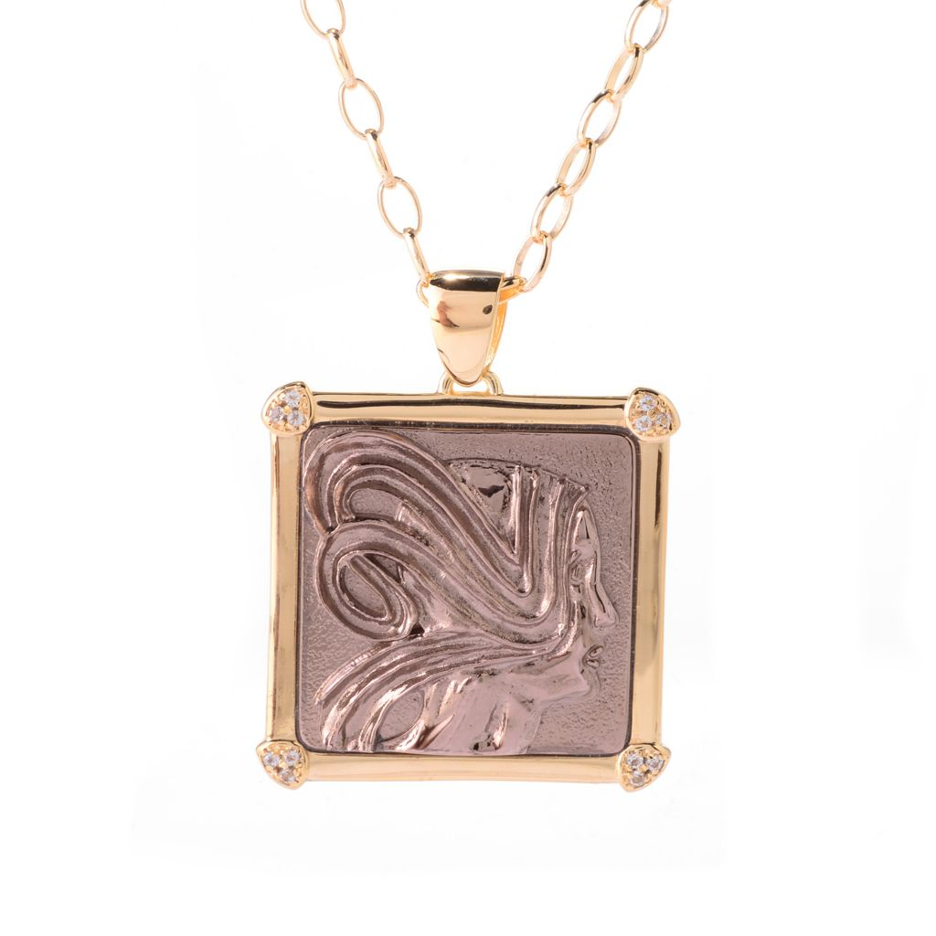 140-892 - Toscana Italiana 18K Gold Embraced™ Two-tone Portrait Relief & White Topaz Pendant