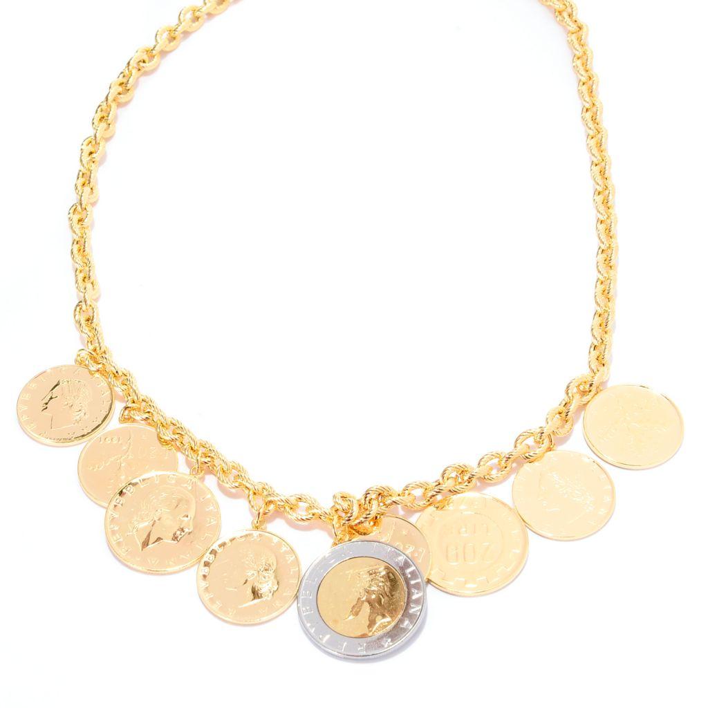 140-895 - Toscana Italiana 18K Gold Embraced™ Textured Chain Italian Coin Charm Necklace