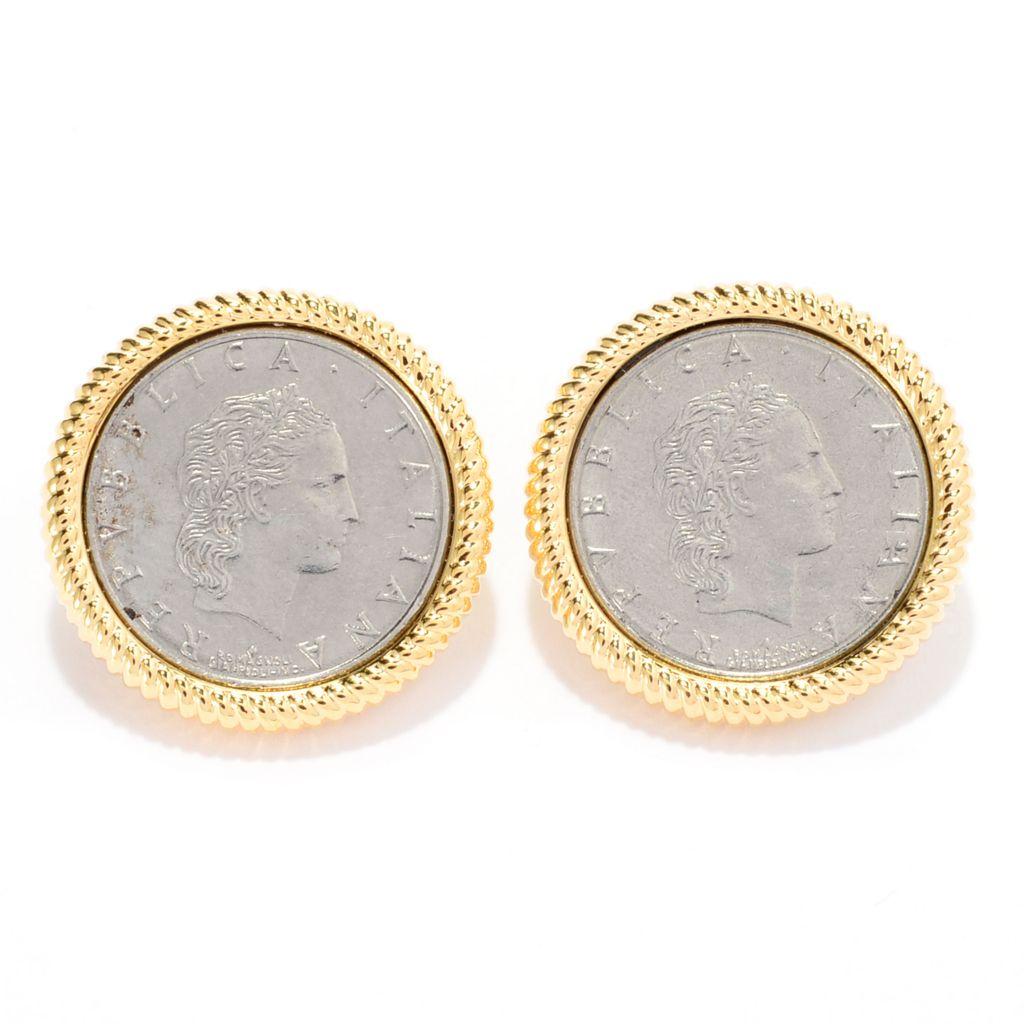 140-896 - Toscana Italiana 18K Gold Embraced™ Ribbed Border Italian Coin Button Earrings