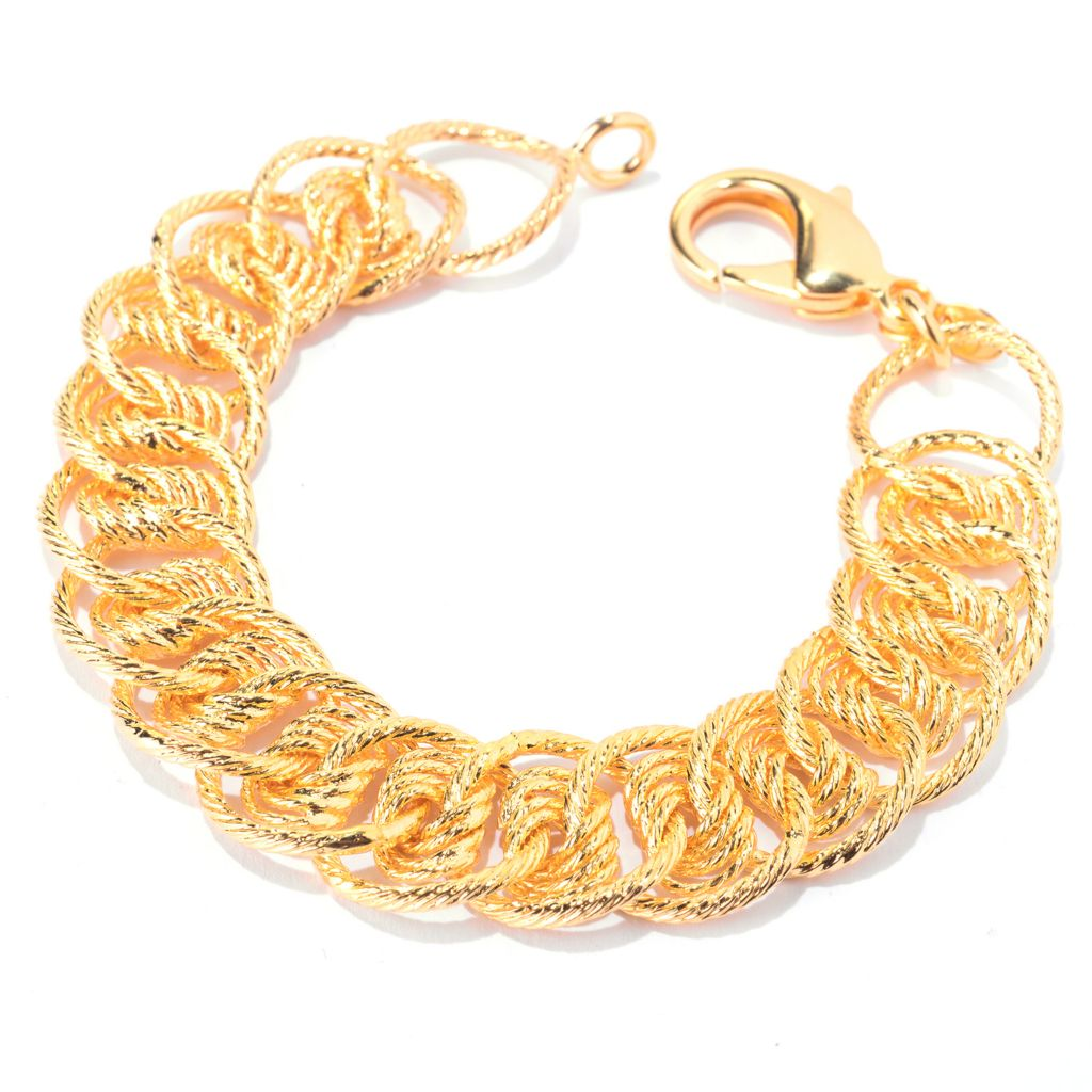 "140-898 - Toscana Italiana 18K Gold Embraced™ 7.5"" Textured Multi Curb Link Bracelet"