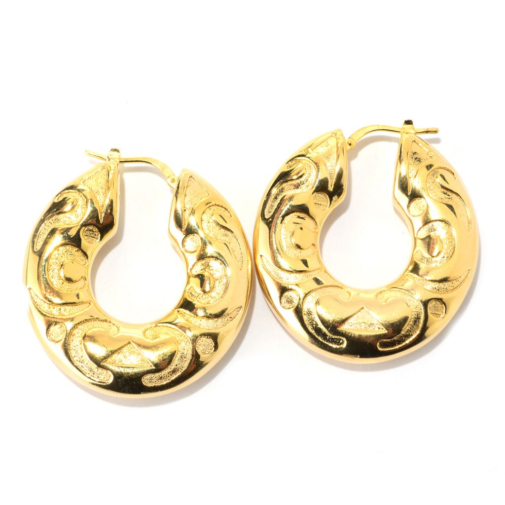 "140-904 - Toscana Italiana 18K Gold Embraced™ 1.5"" Polished Etruscan Hoop Earrings"
