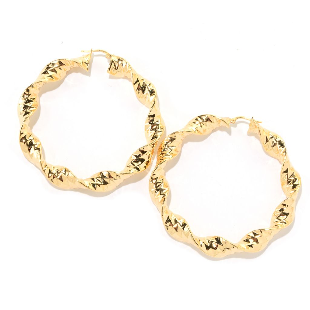 "140-905 - Toscana Italiana 18K Gold Embraced™ 2.5"" Textured & Twisted Runway Hoop Earrings"