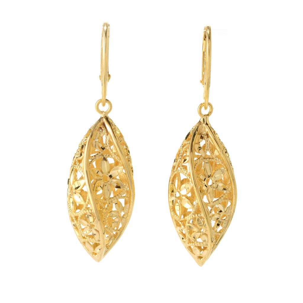 "140-906 - Toscana Italiana 18K Gold Embraced™ 2"" Diamond Cut Twisted Marquise Drop Earrings"