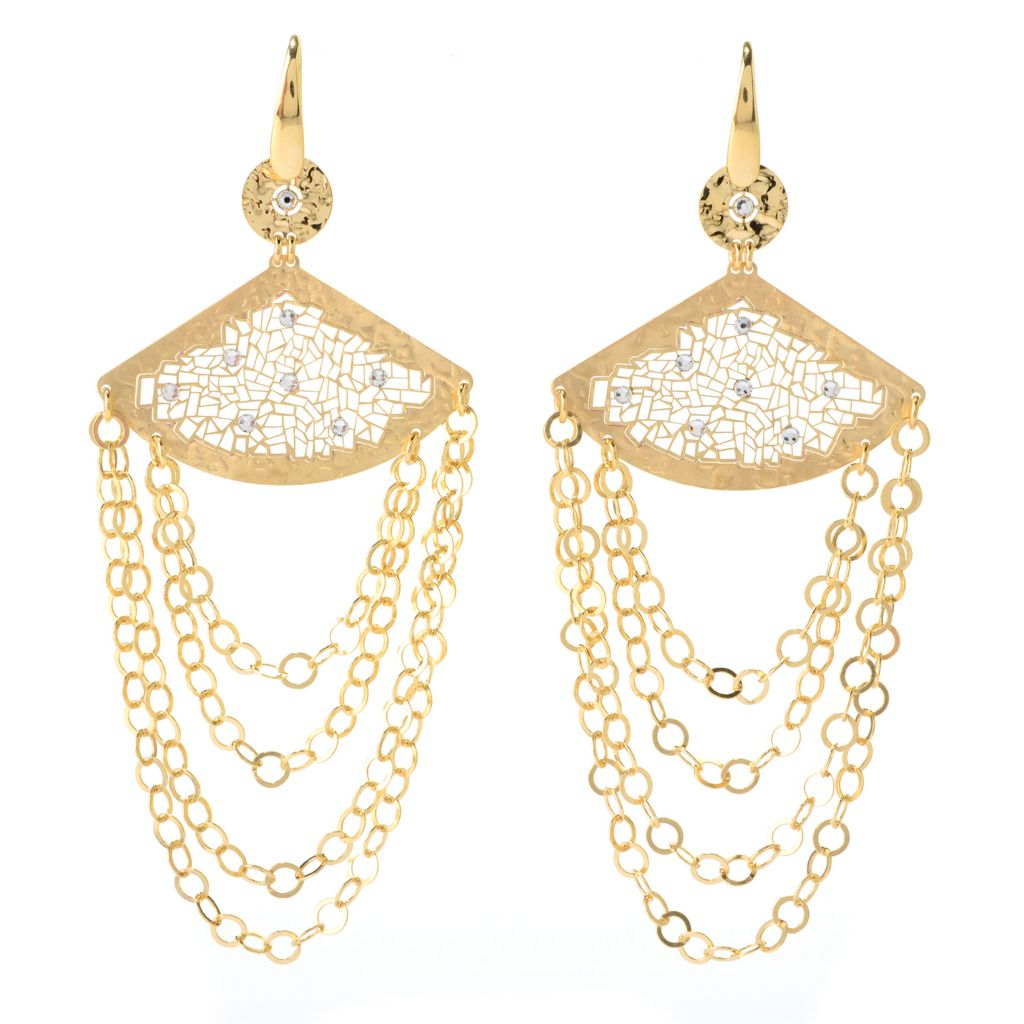"140-910 - Toscana Italiana 18K Gold Embraced™ 4"" Crystal Bead Chandelier Earrings"