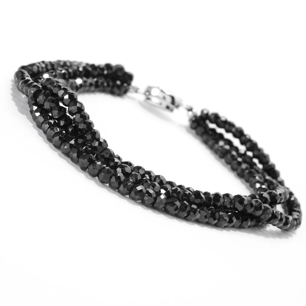 140-914 - Gem Treasures Sterling Silver Round Black Spinel Beaded Bracelet w/ Magnetic Clasp