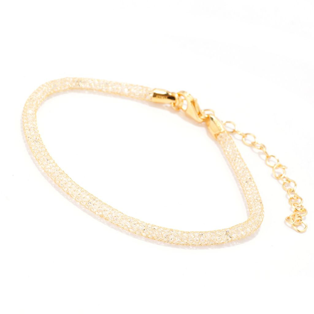 "140-916 - Brilliante® 18K Gold Embraced™ 7.5"" Simulated Diamond Mesh Bracelet"
