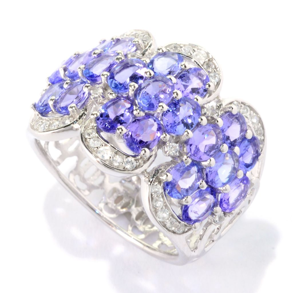 140-928 - NYC II 3.59ctw Tanzanite & White Zircon Cut-out Flower Wide Band Ring