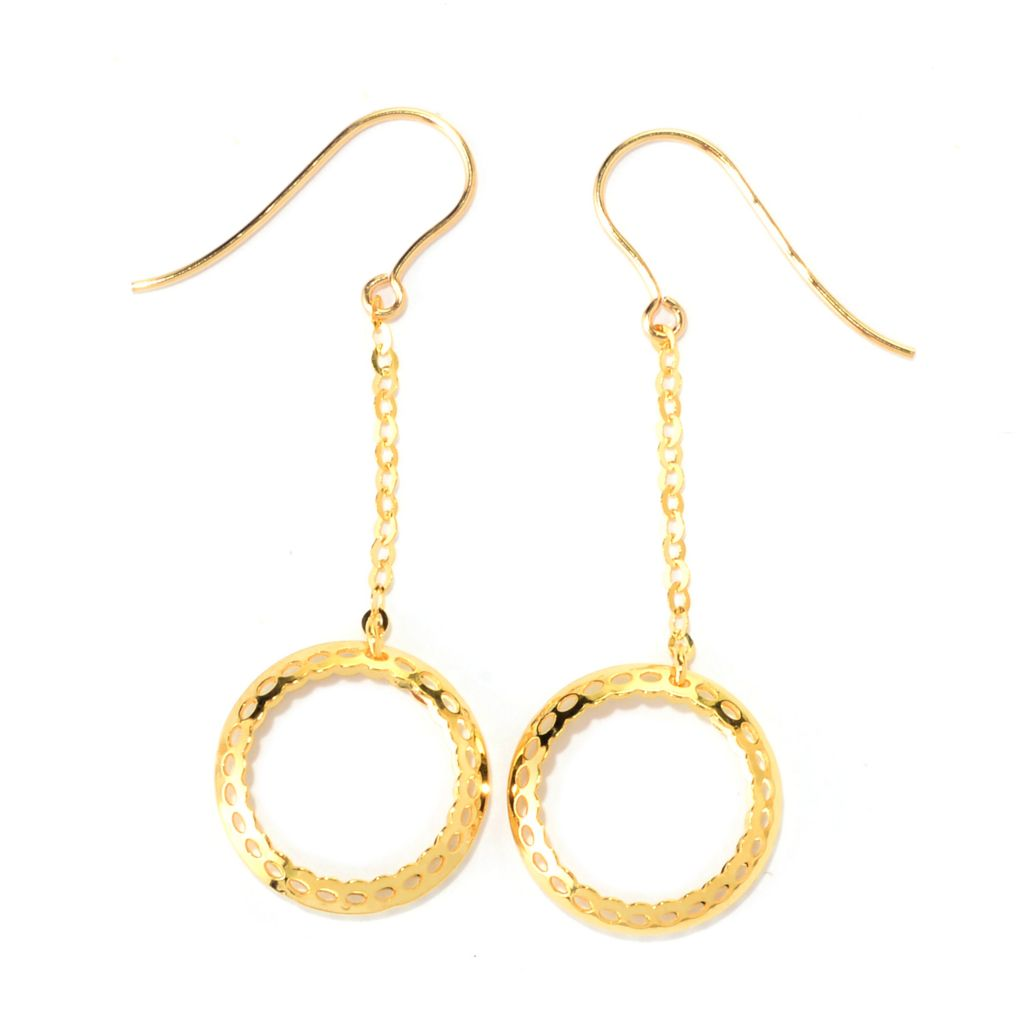 "140-938 - Italian Designs with Stefano 14K Gold 1.75"" Ricami Circle Dangle Earrings"