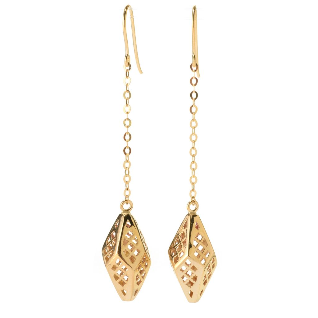 "140-940 - Italian Designs with Stefano 14K Gold 2.25"" Ricami Lantern Dangle Earrings"