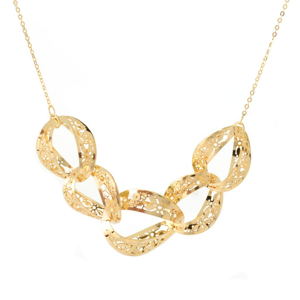 """140-941 - Italian Designs with Stefano 14K Gold Choice 18"""" Ricami Cut-out Circle Necklace"""