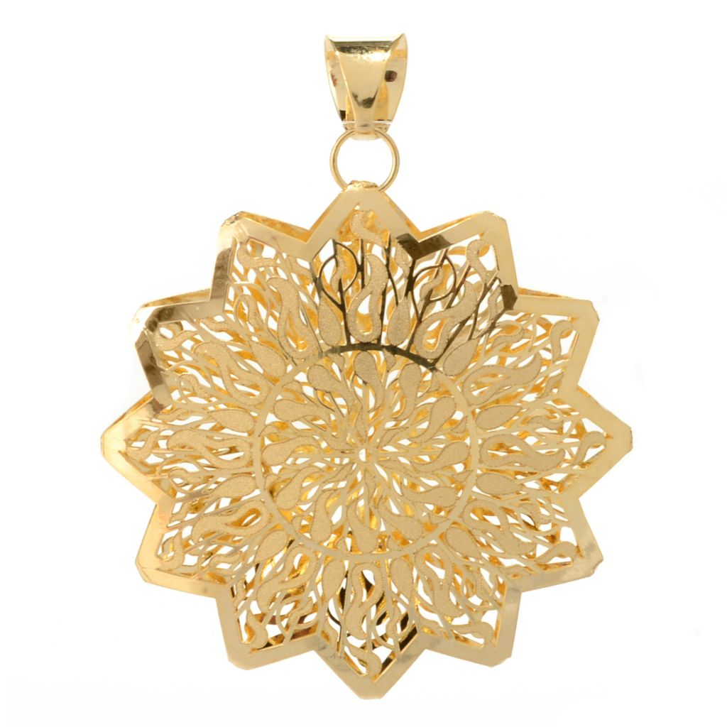 140-942 - Italian Designs with Stefano 14K Gold Polished & Laser Cut Ricami Sun Pendant