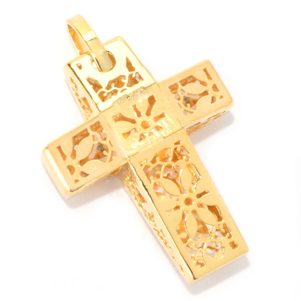 140-943 - Italian Designs with Stefano 14K Gold Cut-out Ricami Cross Pendant