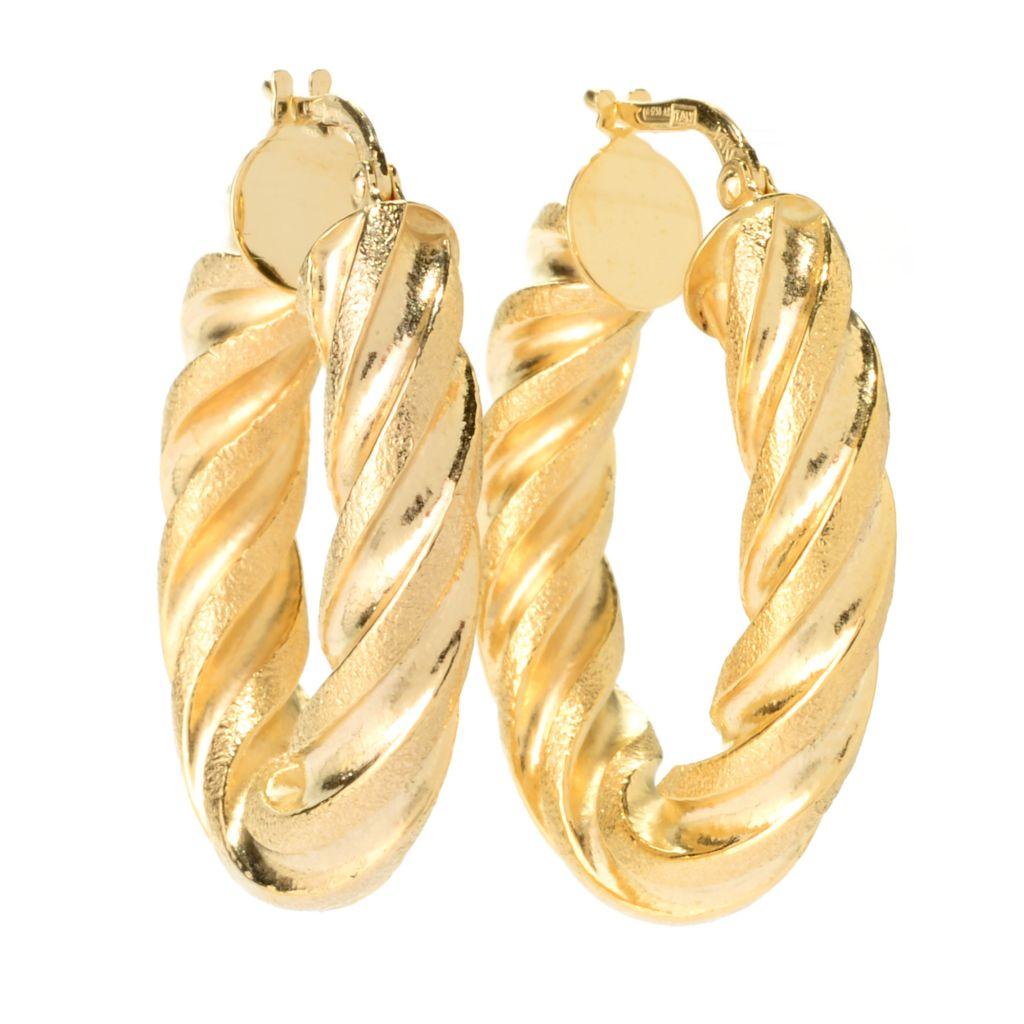 "140-949 - Italian Designs with Stefano 14K Gold 1.25"" Twisted Hoop Earrings"