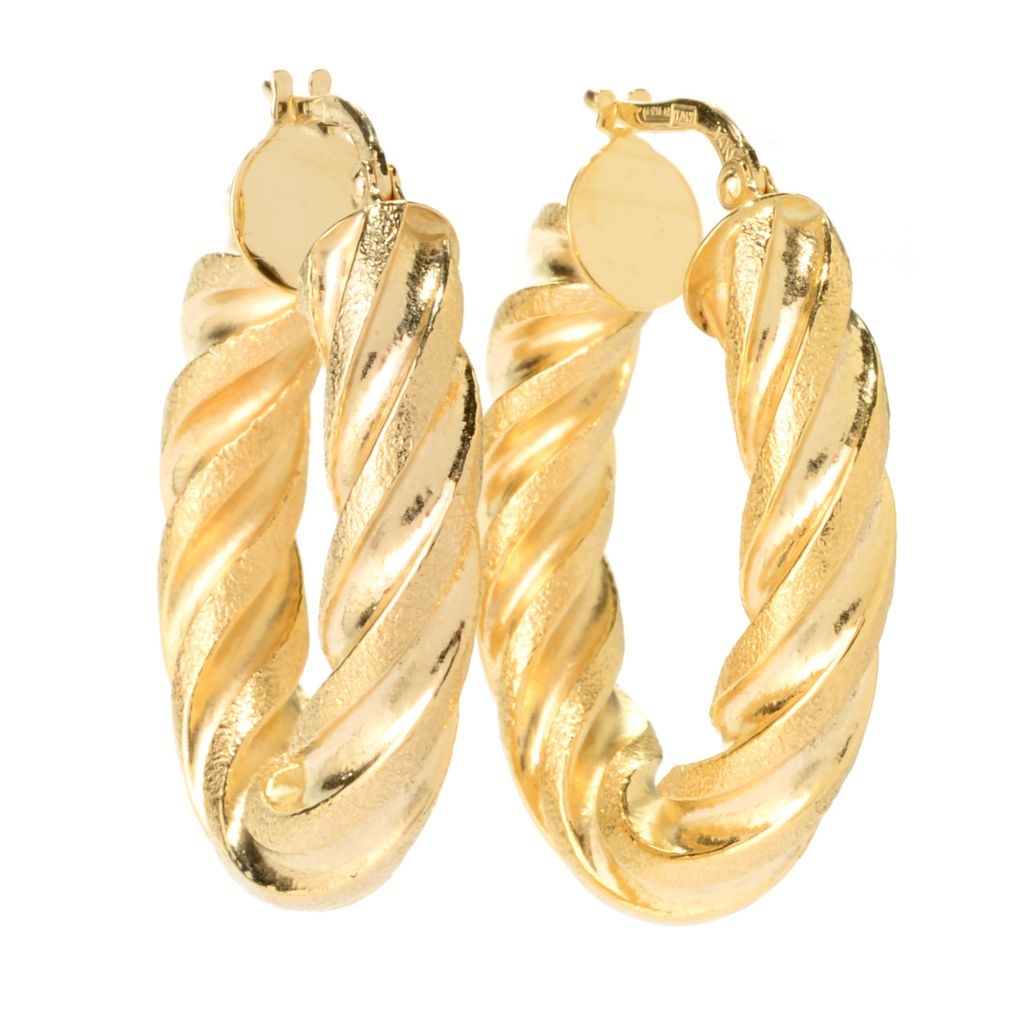"140-949 - Italian Designs with Stefano 14K Gold 1.25"" Twisted Hoop Earrings"