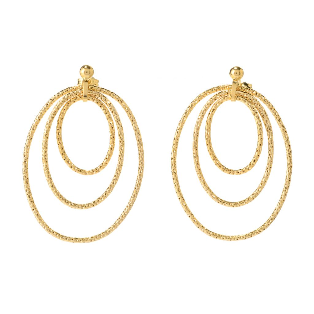 "140-950 - Italian Designs with Stefano 14K Gold 1.5"" Triple Oval Drop Earrings"