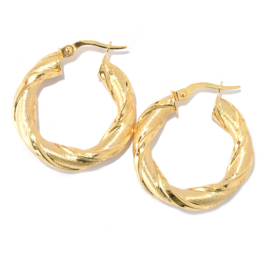 "140-951 - Italian Designs with Stefano 1"" 14K Gold Polished & Satin Finished Hoop Earrings"