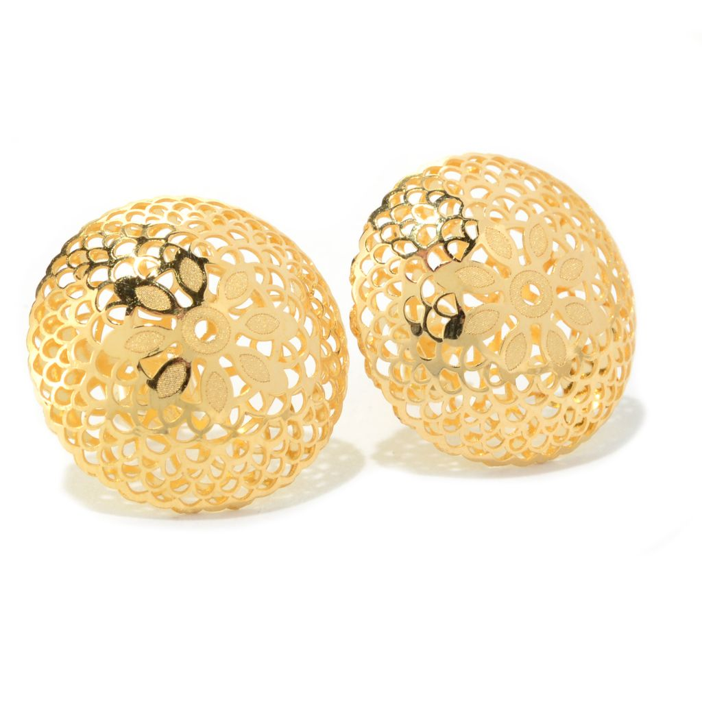 140-952 - Italian Designs with Stefano 14K Yellow Gold Cut-out Ricami Stud Earrings