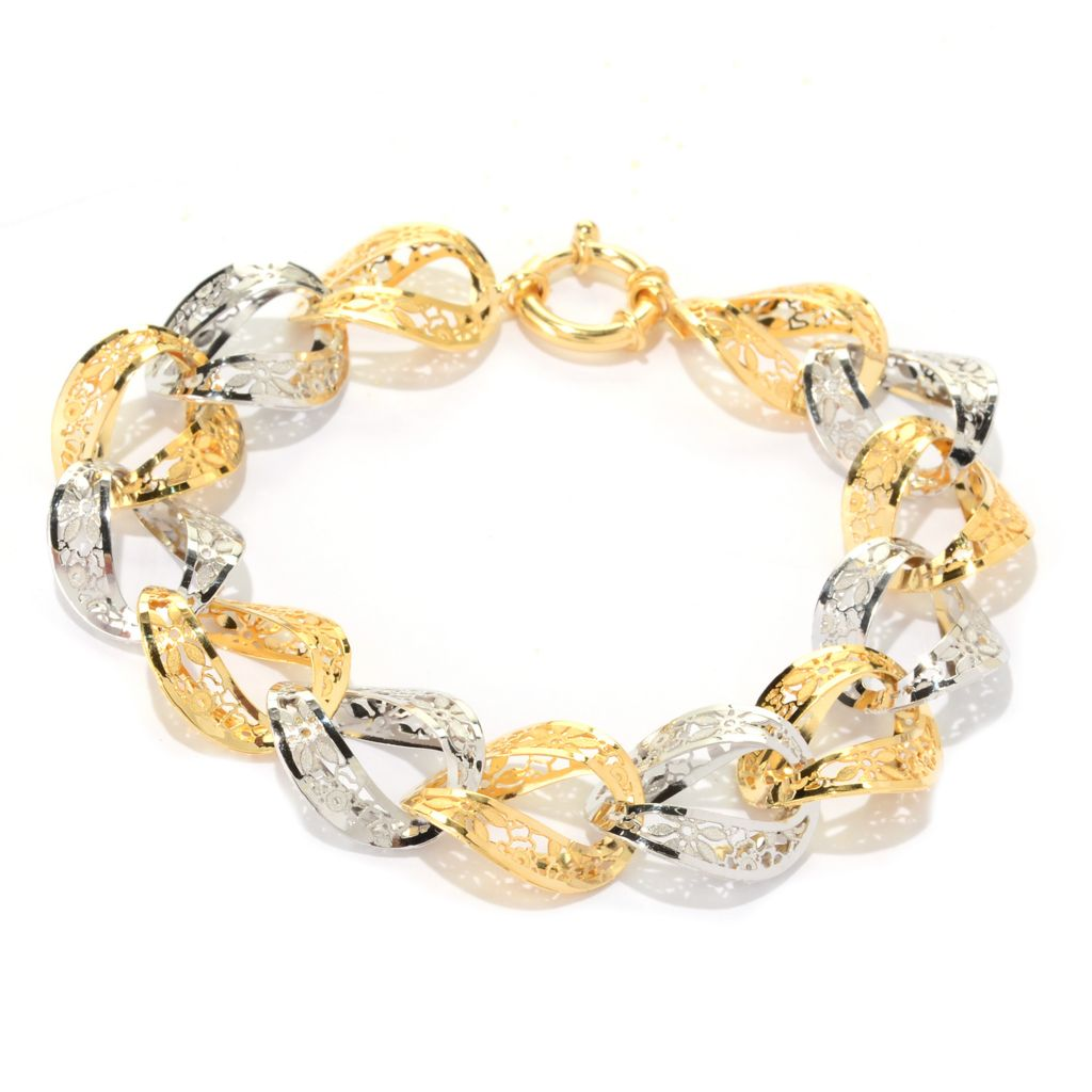 "140-953 - Italian Designs with Stefano 14K Two-tone Gold 7.5"" Ricami Bracelet, 8.97 grams"