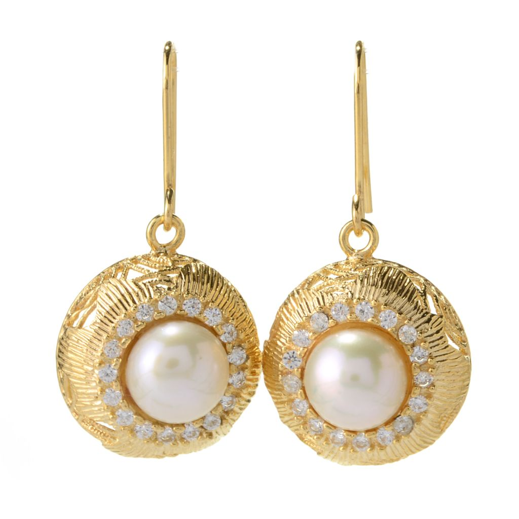 "140-954 - Italian Designs with Stefano 1.25"" 14K Gold Cultured Pearl & Simulated Diamond Earrings"