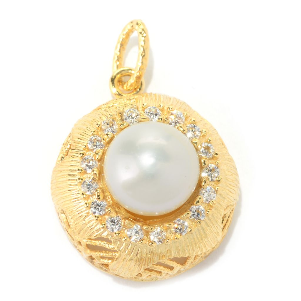 140-956 - Italian Designs with Stefano 14K Gold Cultured Pearl & Simulated Diamond Pendant
