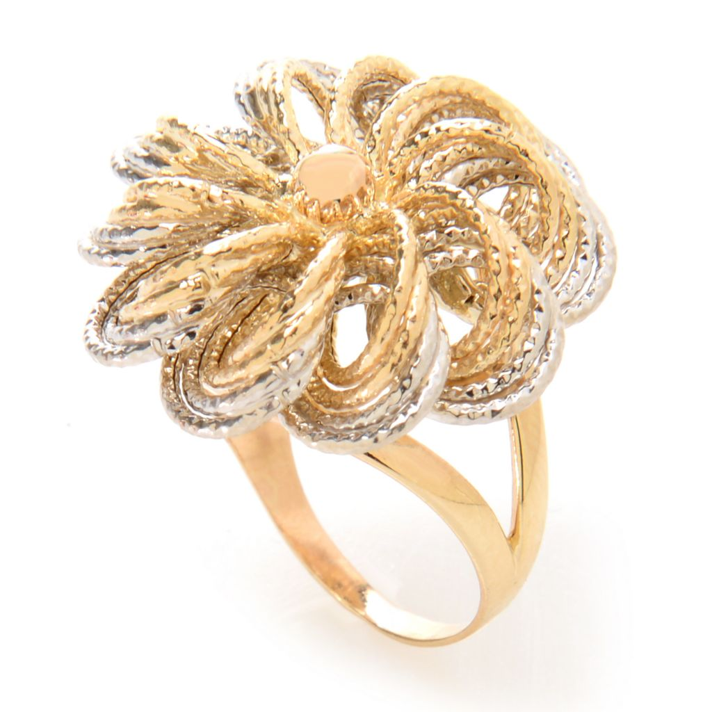 140-960 - Italian Designs with Stefano 14K Two-tone Gold Textured Wide Flower Ring