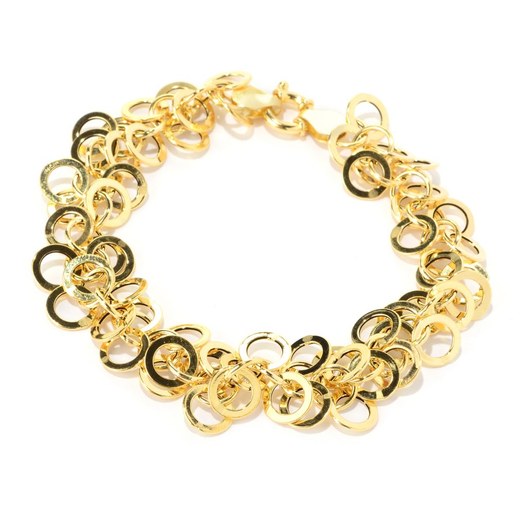 "140-961 - Italian Designs with Stefano 7.5"" 14K Gold Circle Link Bracelet, 4.94 grams"