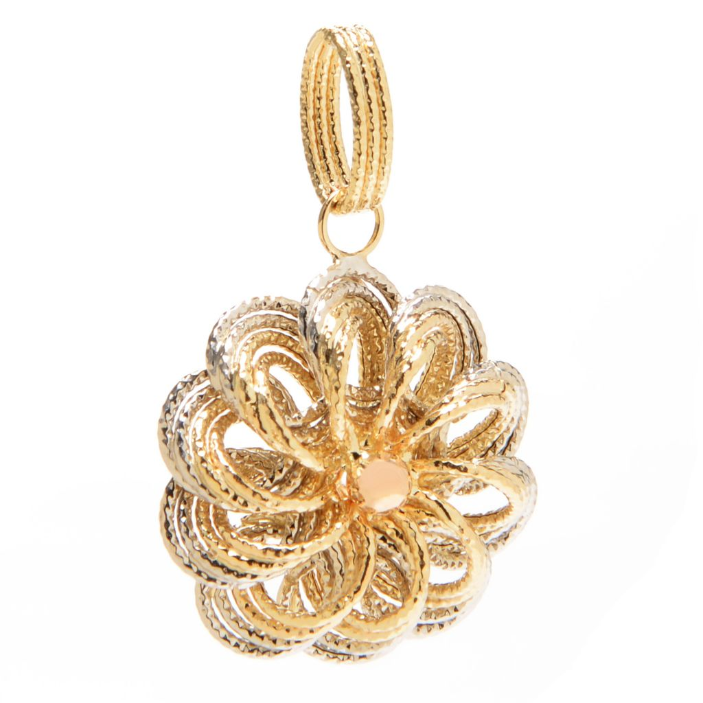 140-962 - Italian Designs with Stefano 14K Two-tone Gold Flower Pendant